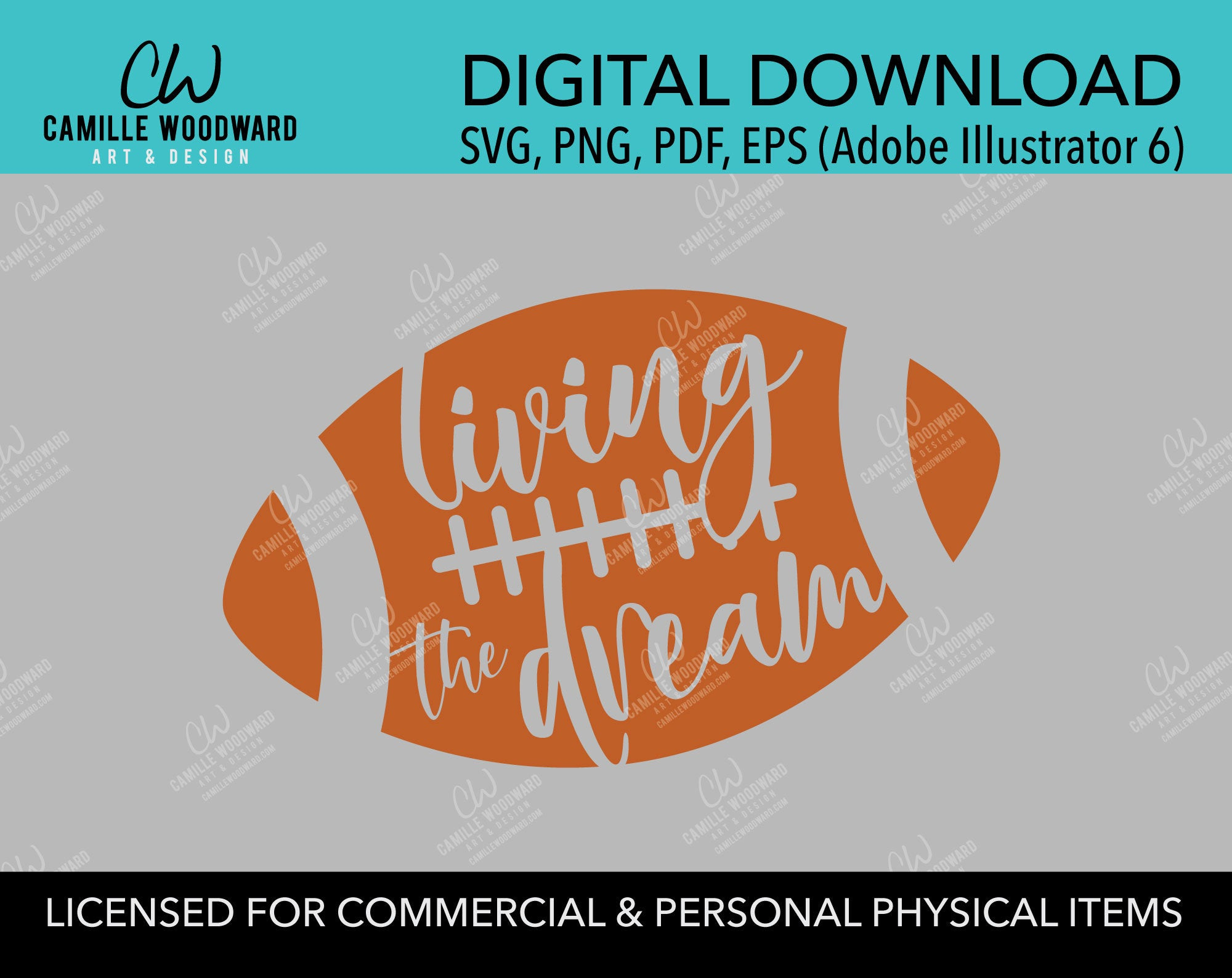 Football Living the Dream Burnt Orange, SVG, EPS, PNG - Digital Download Transparent
