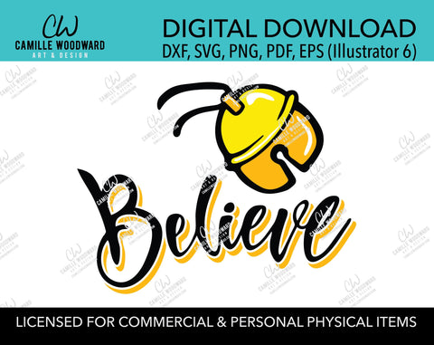 Christmas Believe Jingle Bell Gold and Black, SVG, EPS, PNG - Sublimation Digital Download Transparent