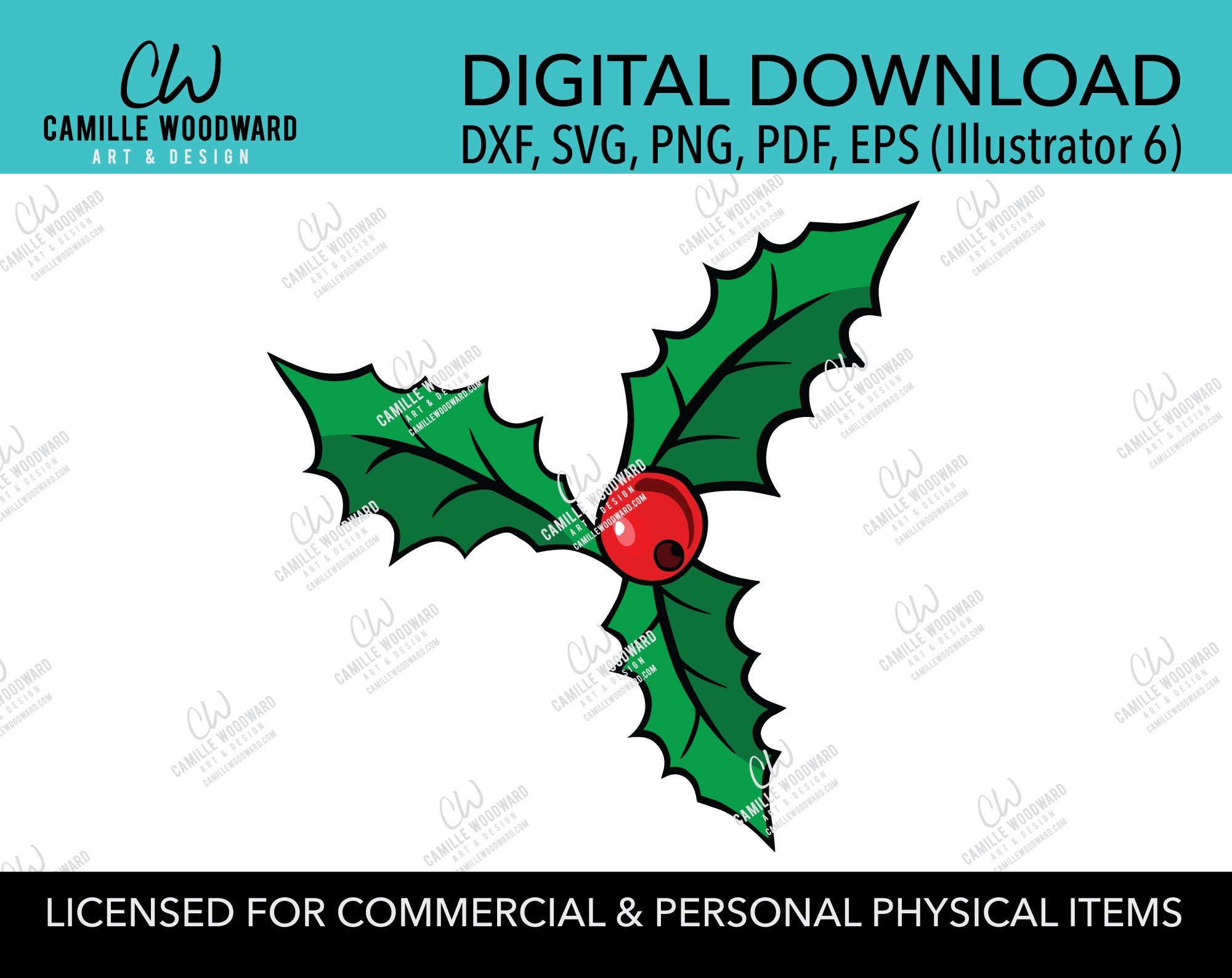 Christmas Holly Leaves and Red Berry, SVG, EPS, PNG - Sublimation Digital Download Transparent