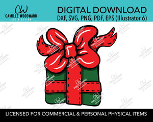 Christmas Present Red and Green Clip Art, SVG, EPS, PNG - Sublimation Digital Download Transparent