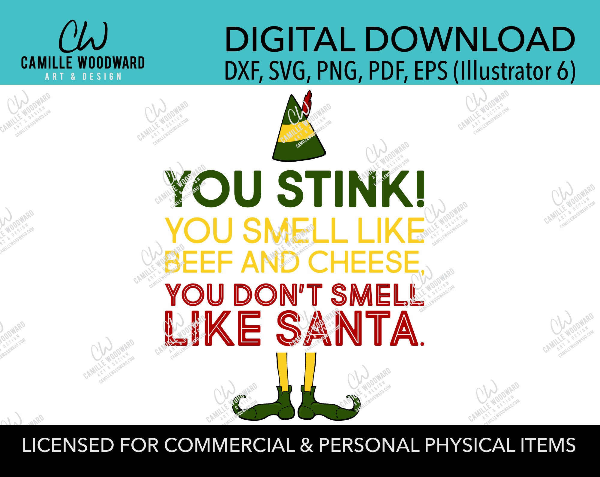 Christmas Buddy The Elf Santa Beef and Cheese Yellow and Green, SVG, EPS, PNG - Sublimation Digital Download