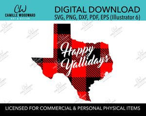 Happy Y'allidays Buffalo Plaid Texas Christmas Red Black, SVG, EPS, PNG - Sublimation Digital Download