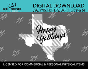 Happy Y'allidays Buffalo Plaid Texas Christmas Gray Black White, SVG, EPS, PNG - Sublimation Digital Download