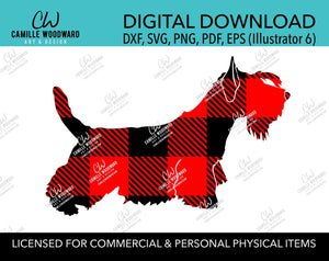 Buffalo Plaid Scottish Terrier Dog Red Black, SVG, EPS, PNG - Sublimation Digital