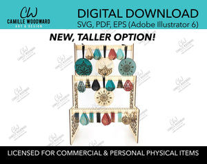 Earring & Ornament Display Organizer, Tall 3-Tier Stand - INSTANT Digital Download