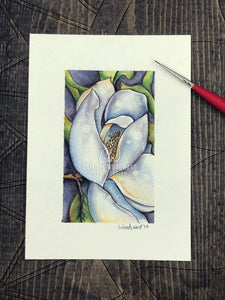 Magnolia Flower Original Watercolor Painting of White Flower with Green Leaves