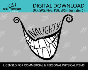 Christmas Naughty Grinch Crooked Smile Black and White, SVG, EPS, PNG - Sublimation Digital Download