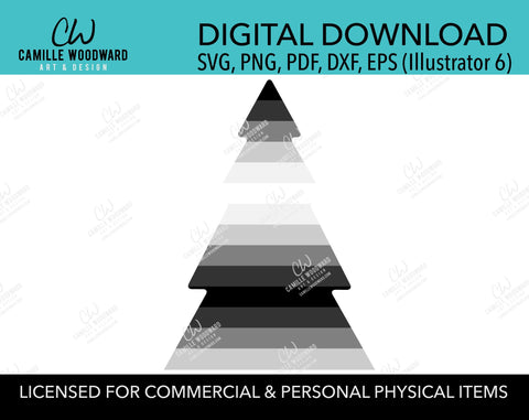 Gray Gradient Stripe Christmas Tree, SVG, EPS, PNG - Sublimation Digital Download Transparent