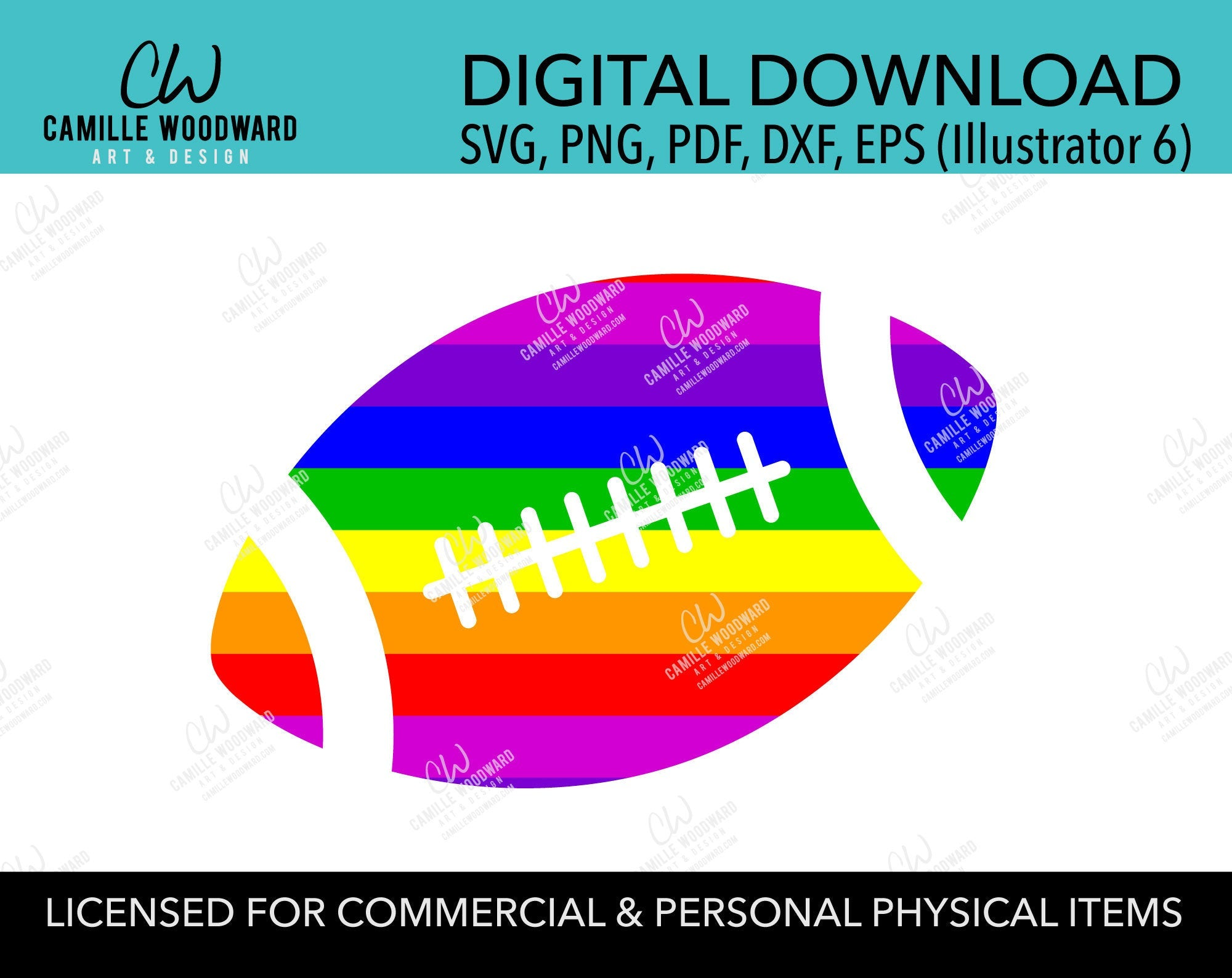 Rainbow Stripe Football, SVG, EPS, PNG - Sublimation Digital Download Transparent