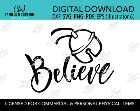 Christmas Believe Jingle Bell Black and White, SVG, EPS, PNG - Sublimation Digital Download Transparent