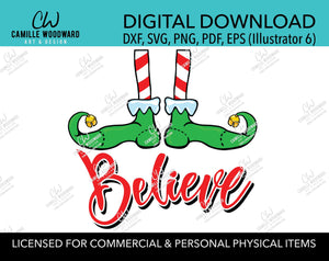 Christmas Elf Shoes Believe Jingle Bell Red and Green, SVG, EPS, PNG - Sublimation Digital Download Transparent