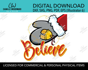 Christmas Believe Santa Mitten and Gold Sparkle Jingle Bell, SVG, EPS, PNG - Sublimation Digital Download Transparent