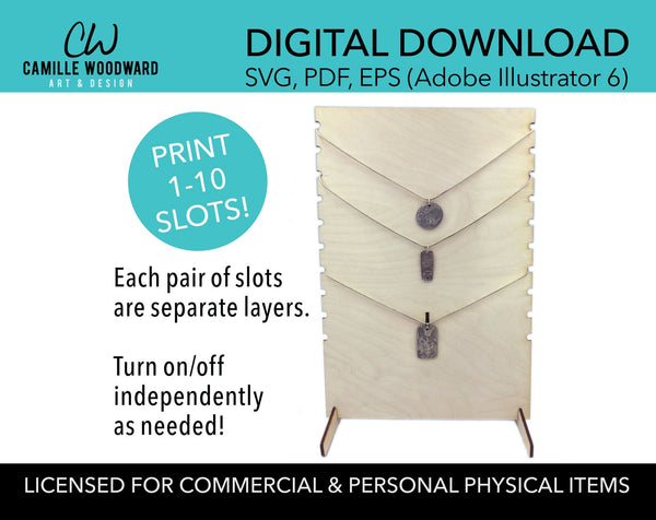 Adjustable Necklace Display Stand SVG, Rectangle with Circle Side Notches - Instant Digital Download