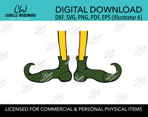 Christmas Elf Legs and Shoes Yellow and Green, SVG, EPS, PNG - Sublimation Digital Download Transparent