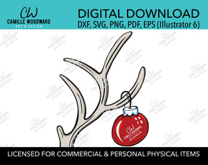 Christmas Deer Antler and Red Ornament, SVG, EPS, PNG - Sublimation Digital Download Transparent