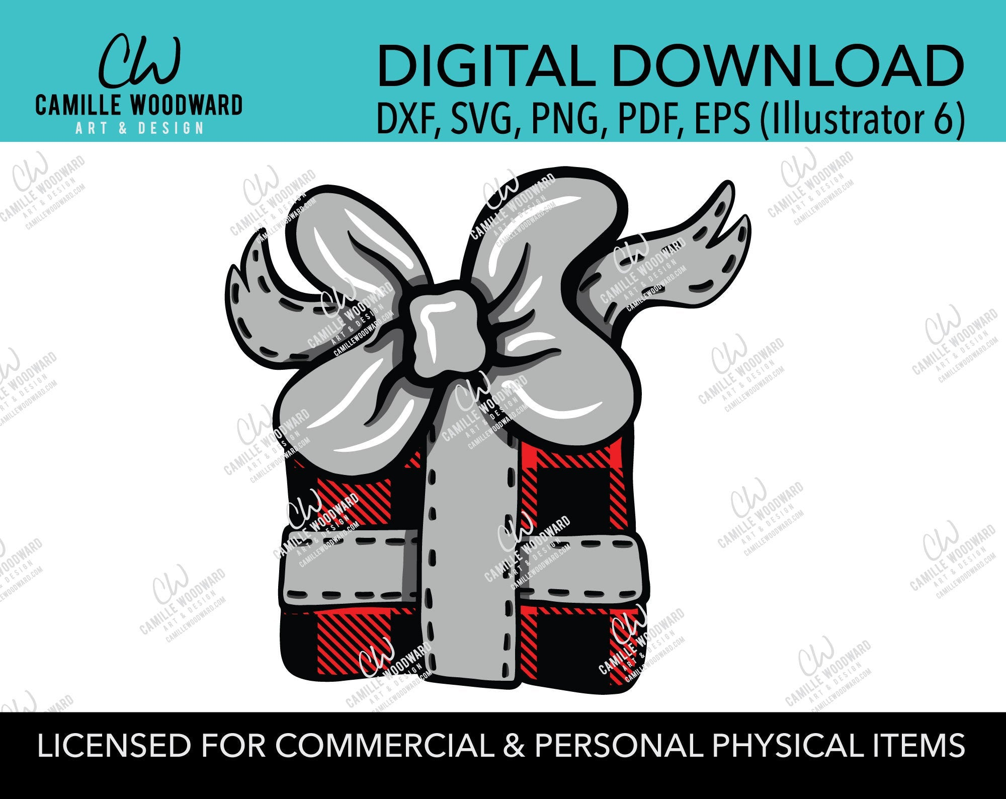 Christmas Present Buffalo Plaid Red Black and Silver Bow Clip Art, SVG, EPS, PNG - Sublimation Digital Download Transparent
