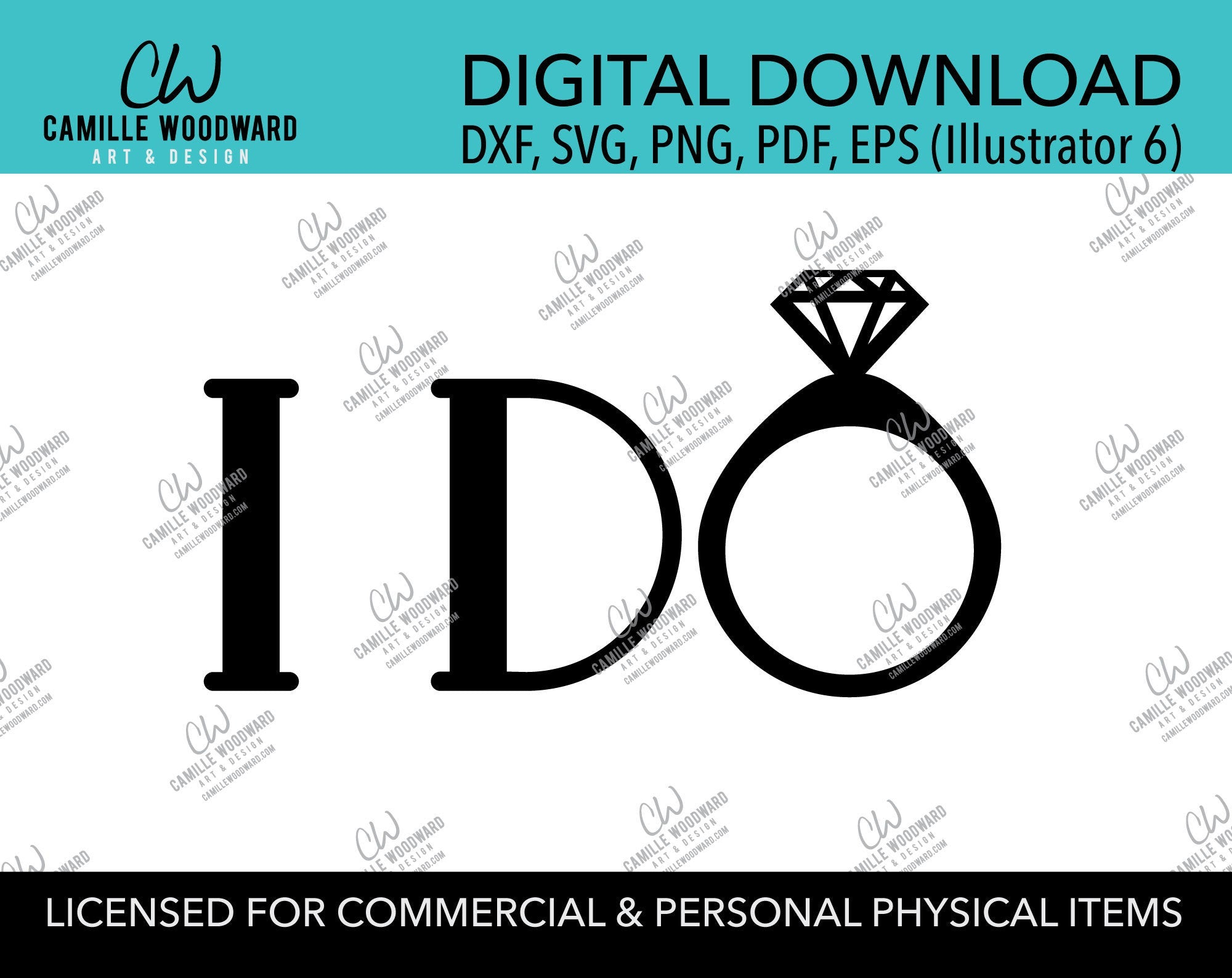 I Do Diamond Ring Black and White, EPS, PNG SVG - Digital Download Transparent