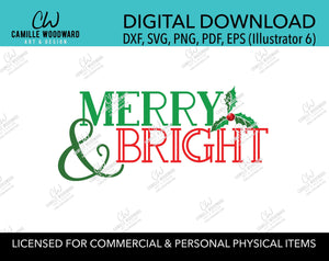 Christmas Merry & Bright Green Red Holly, SVG, EPS, PNG - Sublimation Digital Download