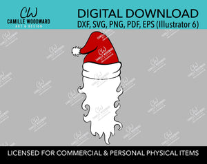 Santa Hat White Beard Red Black, SVG, EPS, PNG - Sublimation Digital Download