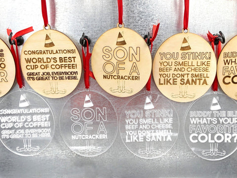 Christmas Buddy The Elf Movie Quote Ornaments, Wood Acrylic