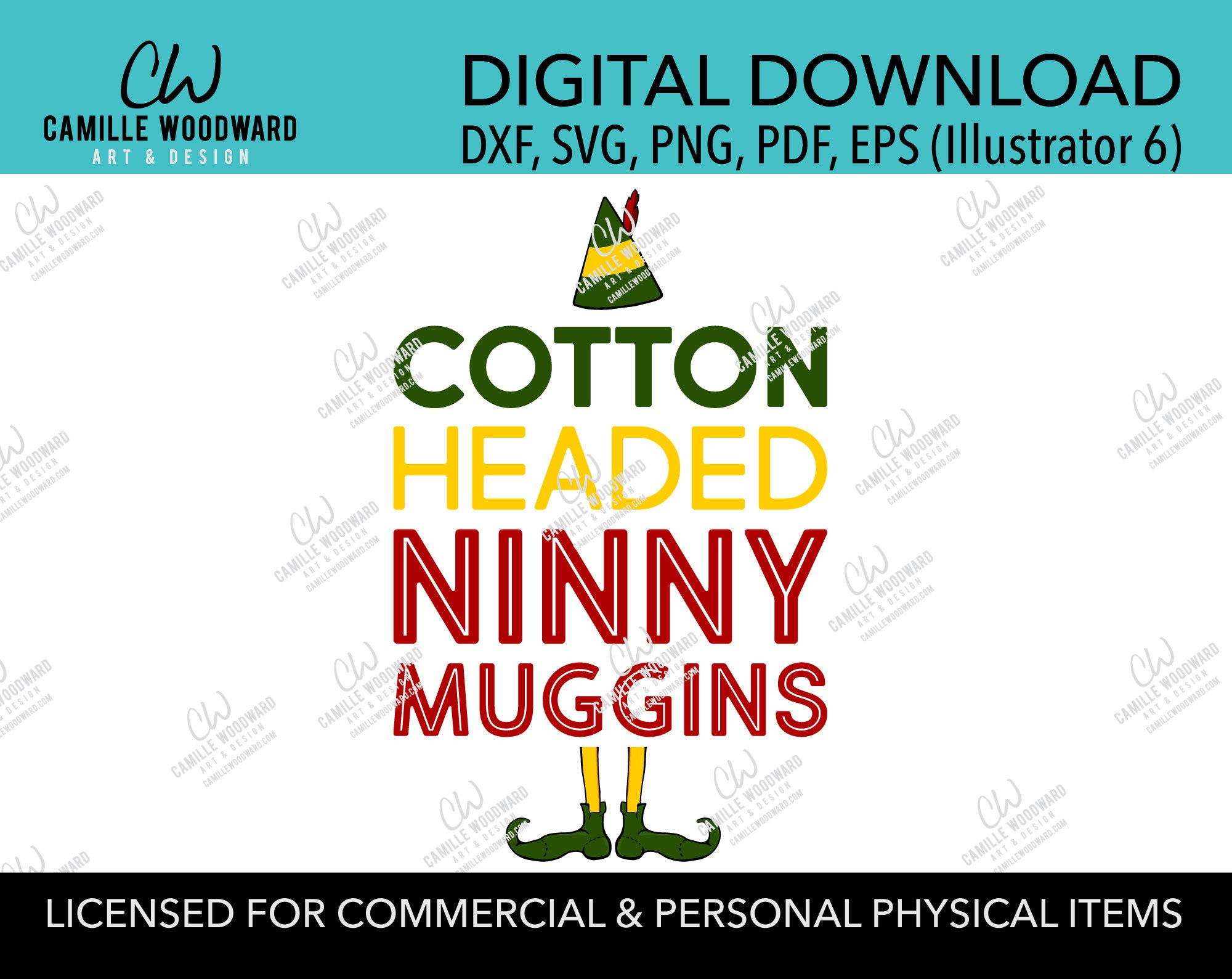 Christmas Buddy The Elf Cotton Headed Ninny Muggins Quote, SVG, EPS, PNG - Sublimation Digital
