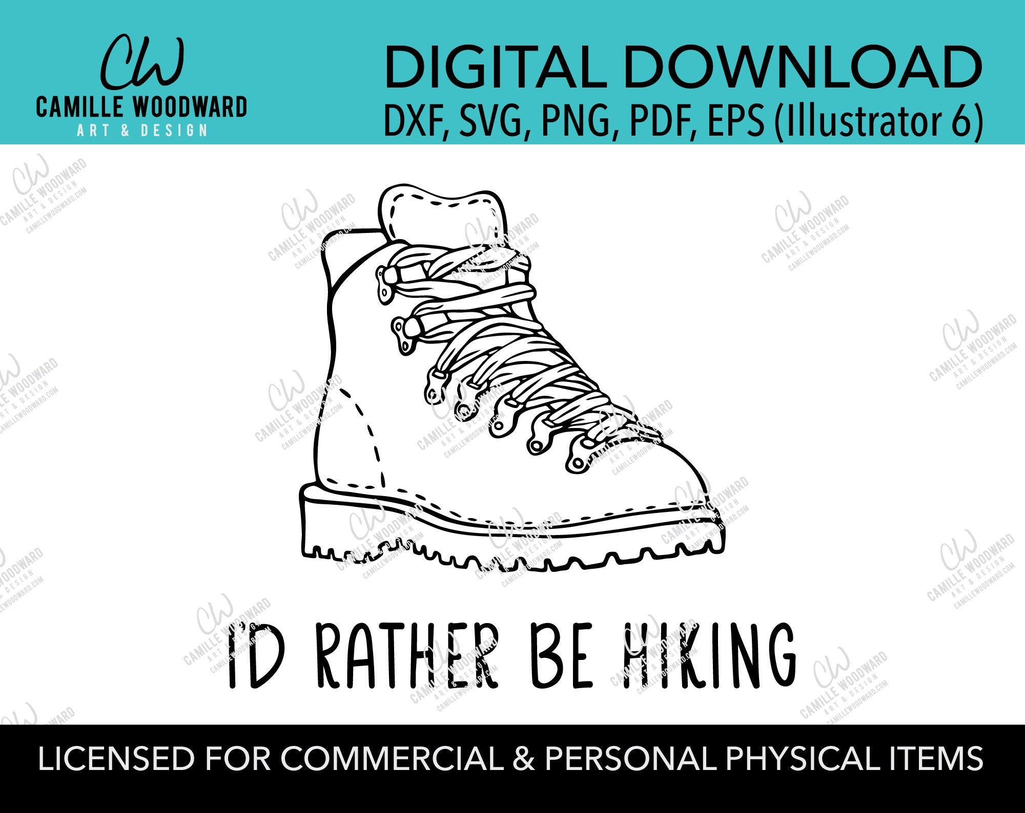 I'd Rather Be Hiking Boot Vintage Black and White, SVG, EPS, PNG - Sublimation Digital Download