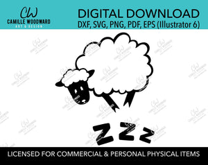 Counting Sheep Zzz Black and White, SVG, EPS, PNG - Sublimation Digital Download