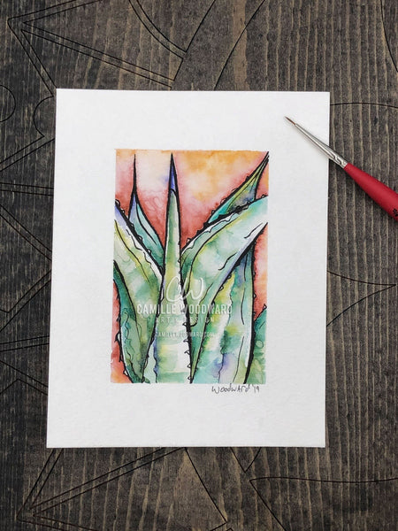 Agave Original Watercolor Painting of Blue and Green Succulent Cactus