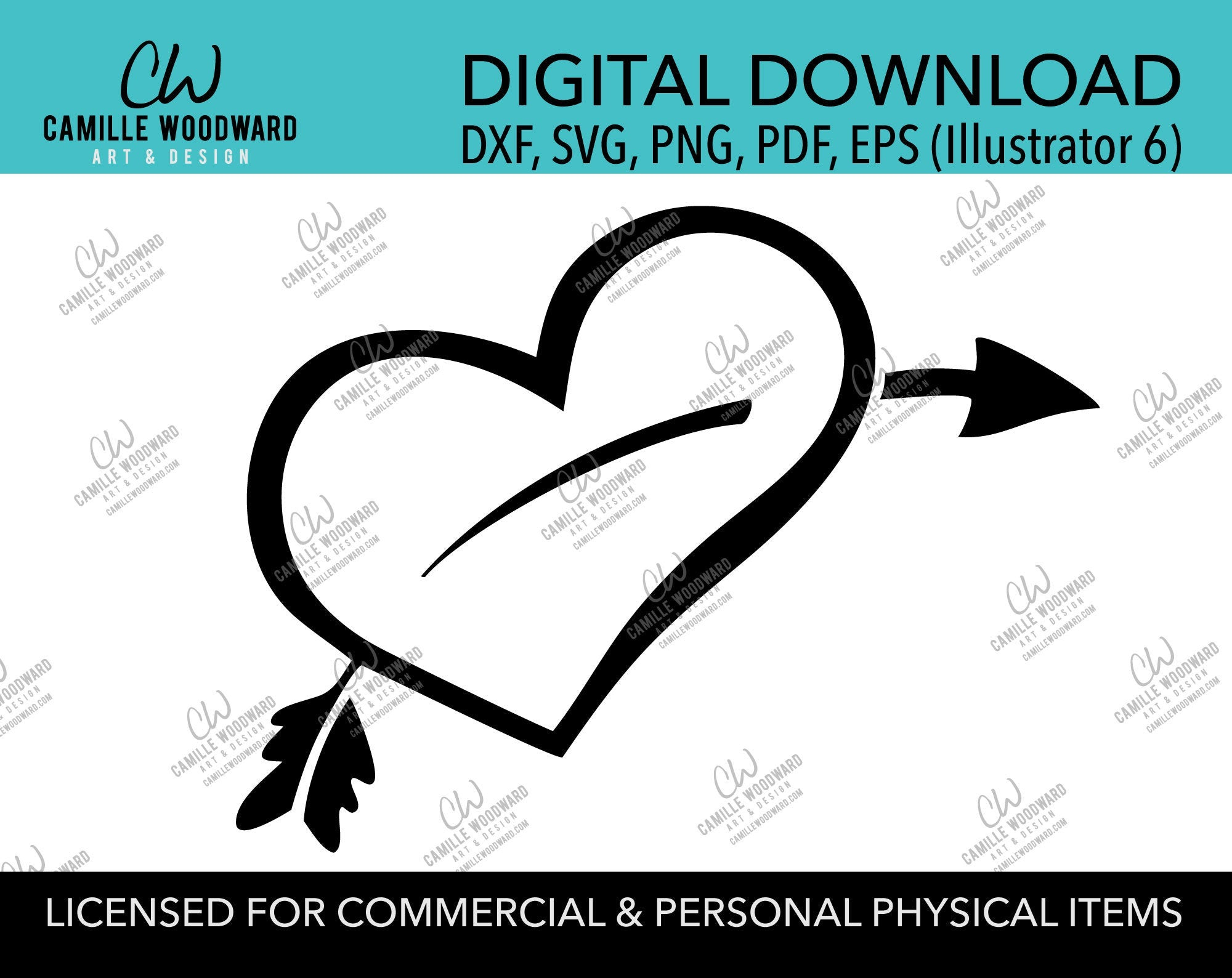 Heart with Arrow Black and White Cartoon Clip Art, SVG, EPS, PNG - Sublimation Digital Download Transparent