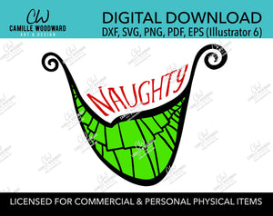 Christmas Naughty Grinch Crooked Smile Color, SVG, EPS, PNG - Sublimation Digital Download