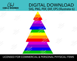 Rainbow Stripe Christmas Tree Bright, SVG, EPS, PNG - Sublimation Digital Download Transparent