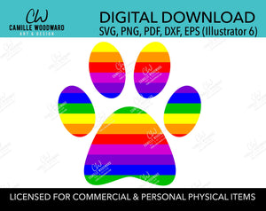 Dog Paw Print Rainbow Stripes LGBTQ, SVG, PNG - Sublimation Digital Download Transparent