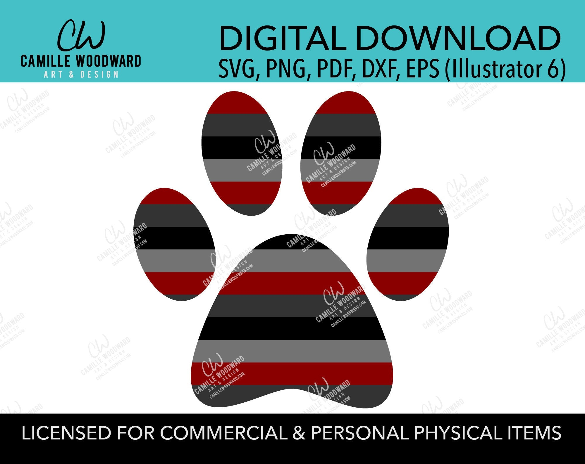 Dog Paw Print with Stripes in Maroon Red, Black Gray, SVG, EPS, PNG - Sublimation Digital Download Transparent