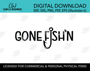 Gone Fish'n Fish Hook Black and White, EPS, PNG SVG - Digital Download Transparent