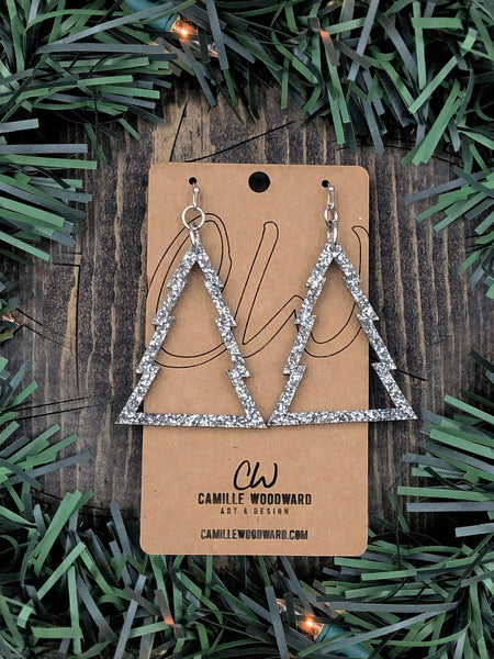 Christmas Tree Silver Sparkle Earrings Acrylic