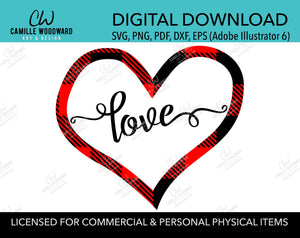 SVG Valentine Heart Love Text, Buffalo Plaid Red Black, PNG - Sublimation Digital Download Transparent