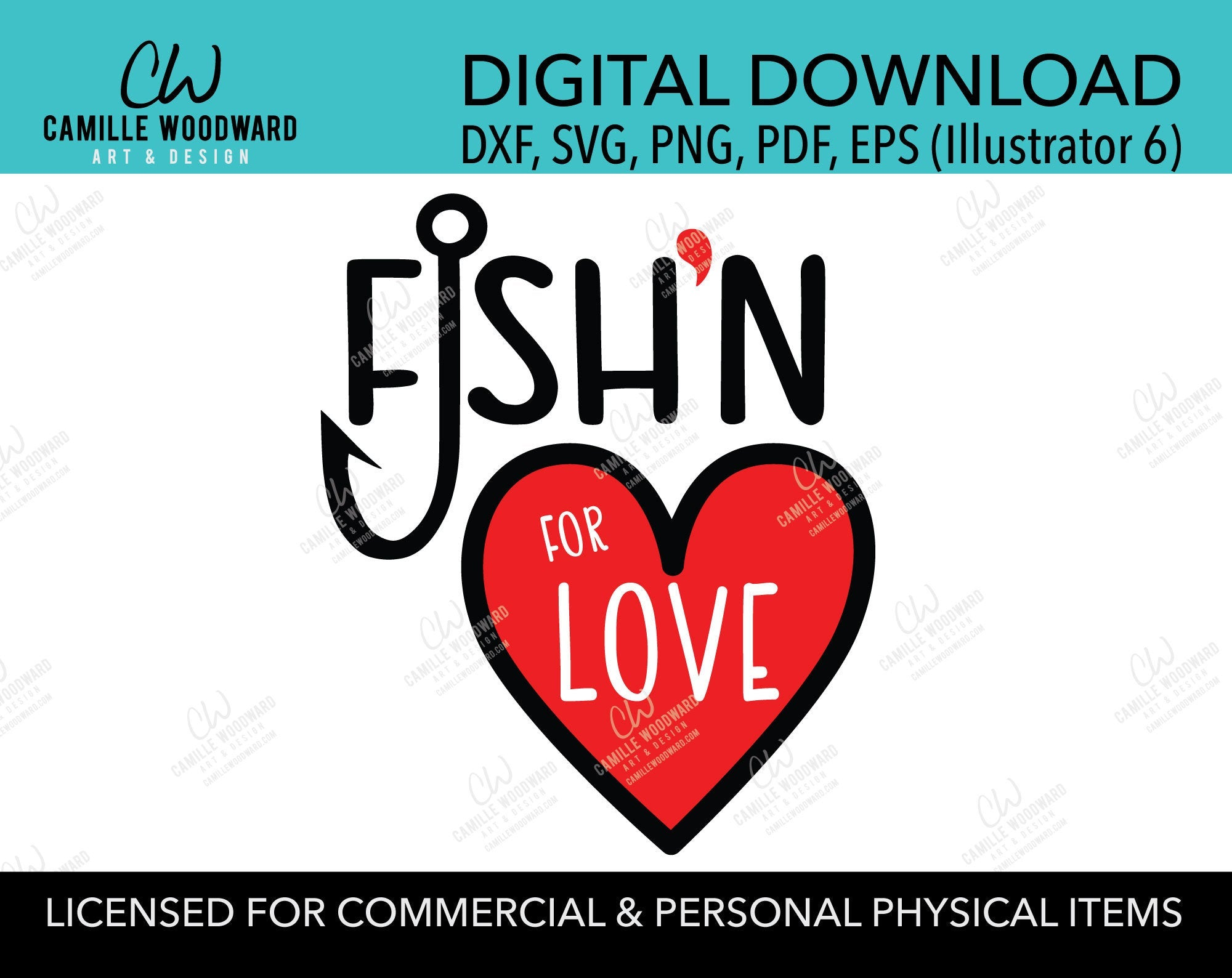 SVG Valentine Fish'n for Love Heart, Fish Hook, Red Black, PNG - Sublimation Digital Download Transparent