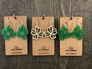 St Patricks Day Earrings Dangle, Green Shamrock Earrings, Four Leaf Clover Earrings, Irish Jewelry, Lucky Irish Earrings