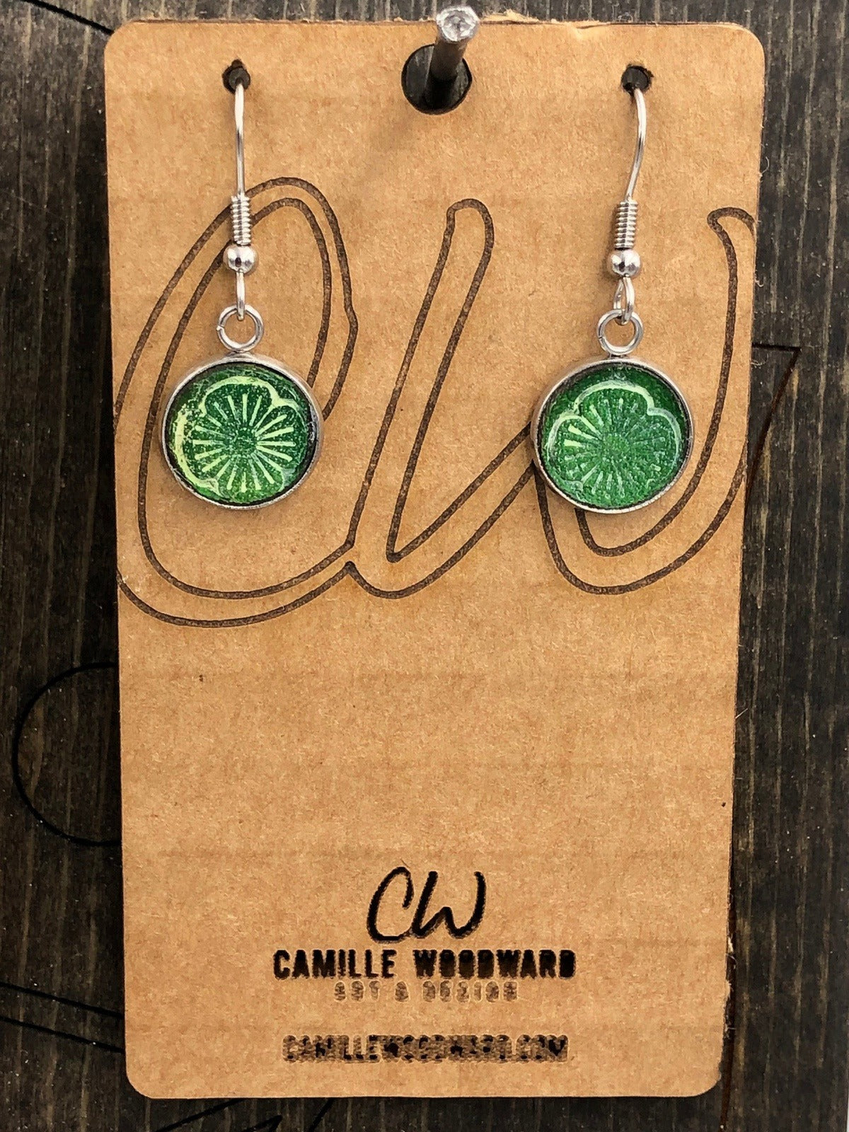St Patricks Day Earrings, Small Leather Earrings Dangle, Boho Handmade Earrings, Hand Stamped, Western Jewelry, Genuine Leather