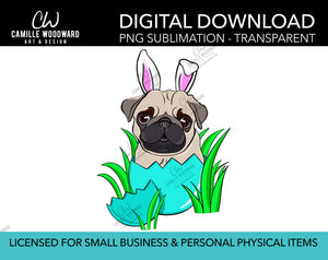 Pug Dog Easter Bunny Clip Art, Pug Dog PNG, Pug Bunny Ears In Easter Egg, Pug Art, Cartoon Pug Dog - Sublimation Digital Download