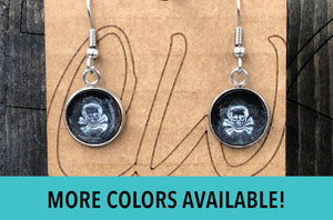 Leather Skull Earrings, Small Skull Earrings Dangle, Skull Handmade Earrings, Skull Jewelry, Sugar Skull Earrings