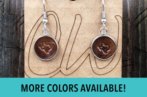 Leather Texas Earrings, Small Texas Earrings Dangle, Handmade Earrings, Hand Stamped, Lone Star State Jewelry, Genuine Leather