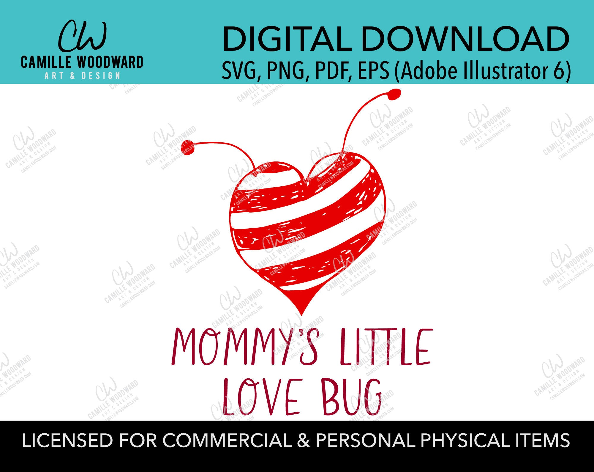 Mommy's Little Love Bug Striped Red Heart with Antennas, SVG, EPS, PNG - Sublimation Digital Download Transparent