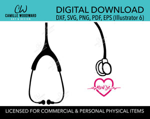 Stethoscope SVG, Nurse Heartbeat Clip Art - Digital Download