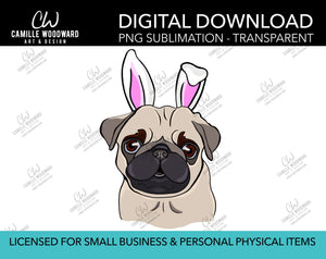 Pug Dog PNG, Pug Easter Bunny Clip Art, Pug Bunny Ears, Pug Art, Cartoon Pug Dog - Sublimation Digital Download