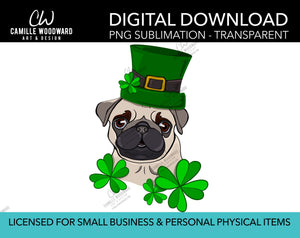 St Patricks Day PNG, Pug Dog Shamrock Clip Art, Pug Green Hat, Pug Art, Cartoon Pug Dog - Sublimation Digital Download