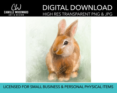 Bunny Rabbit PNG, Bunny PNG, Bunny Rabbit On Green, Easter, Spring Art, Digital Painting - Digital Download Sublimation