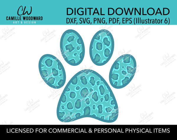 Dog Paw Print SVG, Turquoise Cheetah Leopard Print - Digital Download