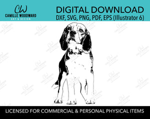 Beagle Dog Clip Art SVG, Dog Clip Art, Black & White Transparent - EPS, PNG Sublimation Digital Download