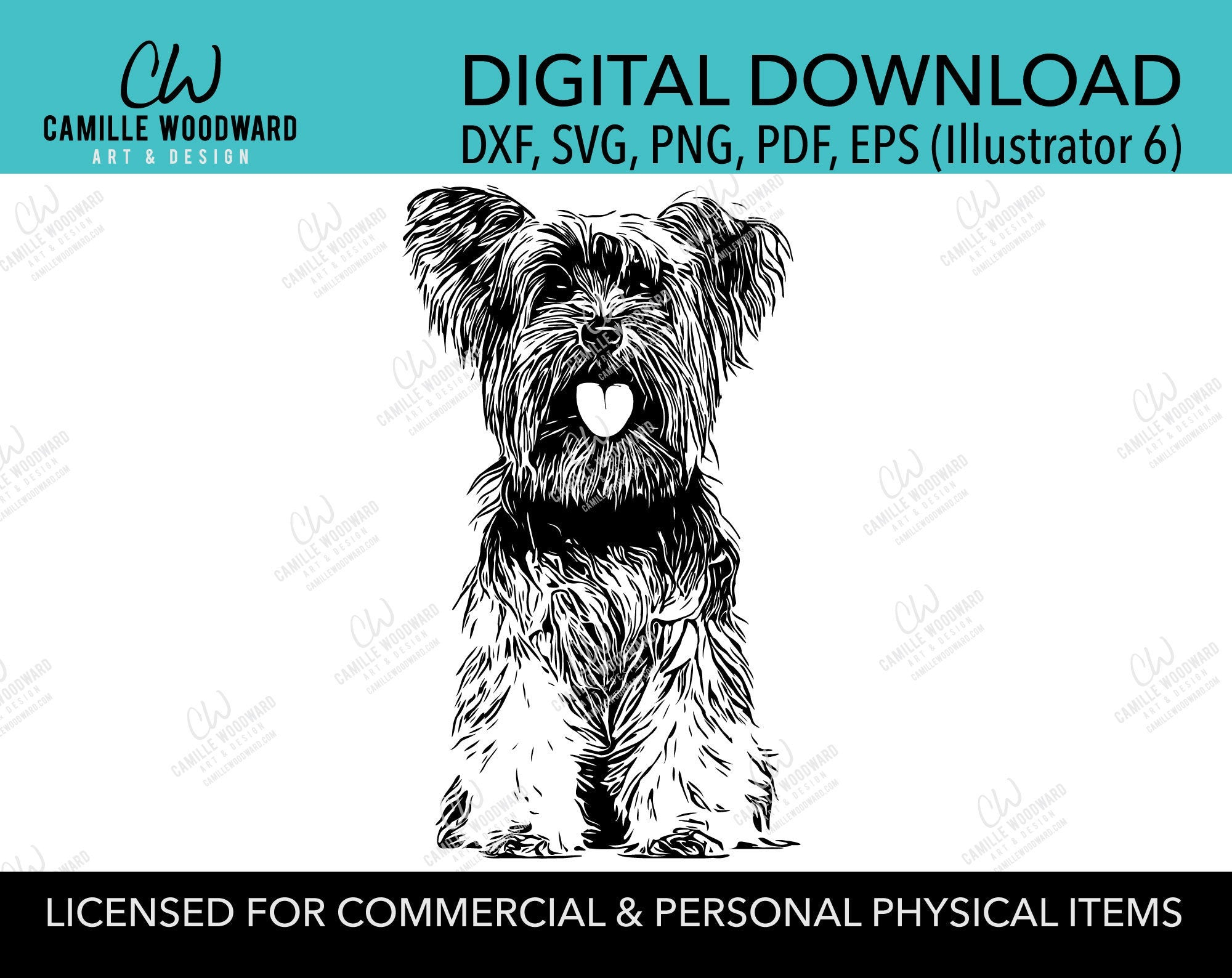 Yorkshire Terrier Dog Clip Art SVG, Yorkie Dog Clip Art, Silky, Black & White Transparent - EPS, PNG Sublimation Digital Download